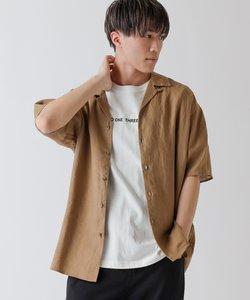 フレンチリネンオープンカラー半袖シャツ