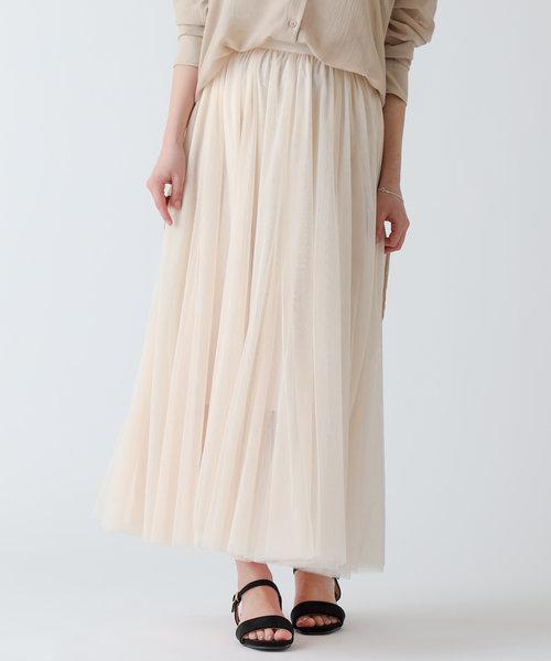 チュールレースレイヤードフレアスカート