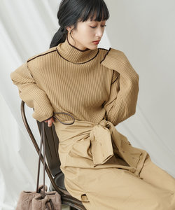【WEB限定】配色ハイネックリブニットプルオーバー