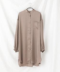 【WEB限定】サテンバンドカラーロングシャツ