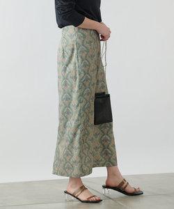 ダマスク柄ハイウエストタイトスカート