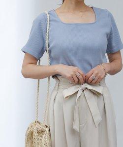 【UVカット】ランダムテレコスクエアネック半袖Tシャツ
