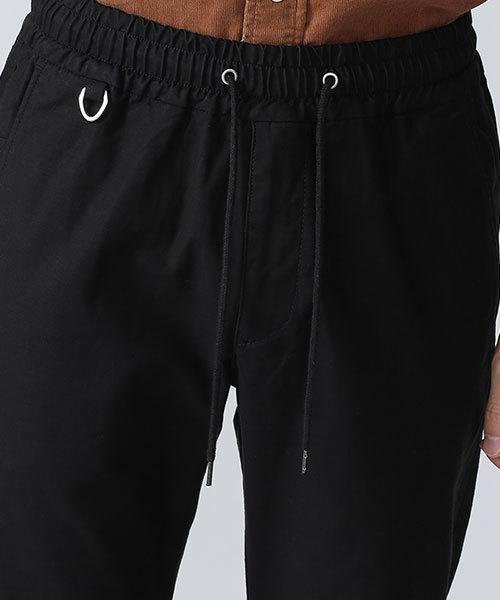 バックサテン裾リブイージーパンツ