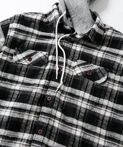 RPフード付きキルティングネルシャツ