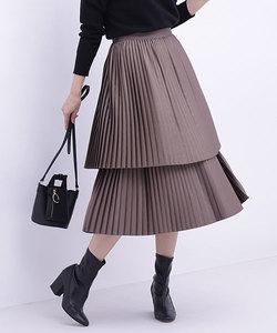 メタリック2段プリーツスカート