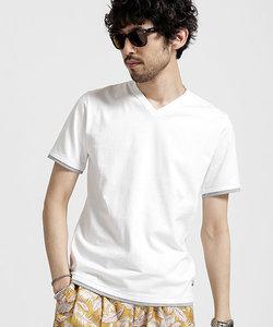 フェイクレイヤードVネックTシャツ