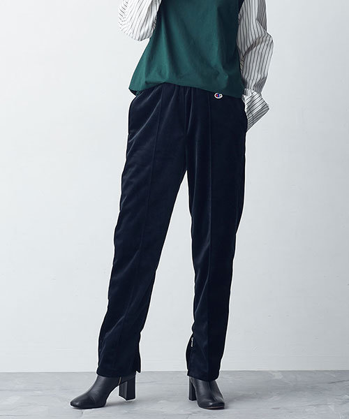 【VERY 2月号掲載】【GINZA(web) 掲載】【MIHO NOJIRI × nano・universe】Champion/別注サイドスリットベロアパンツ