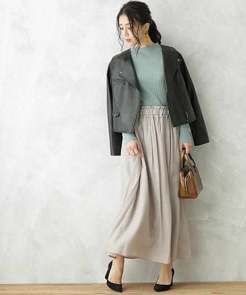 【WEB限定】ヴィンテージサテンライクギャザーマキシスカート
