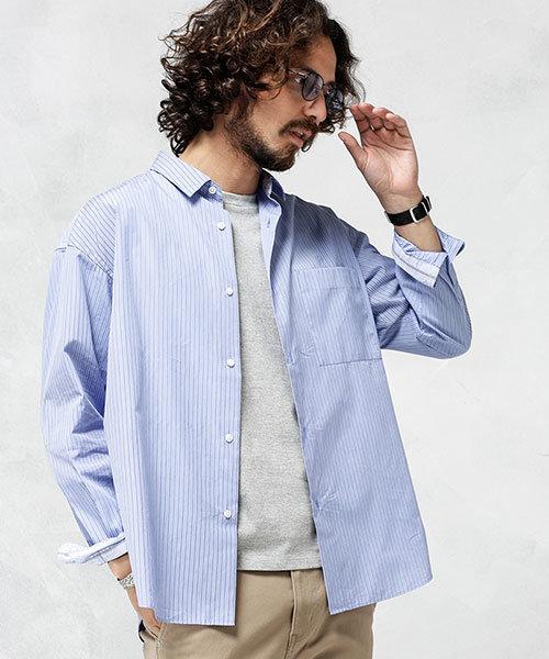 マルチストライプワイドシャツ