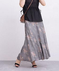 【WEB限定】ボタニカル柄フレアマキシスカート