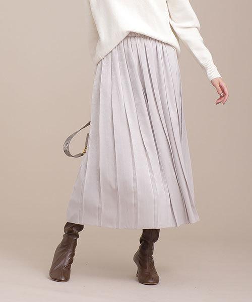 ベロアサテンワイドプリーツスカート