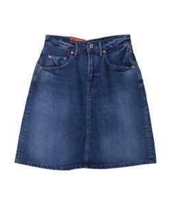 デニム膝丈スカート