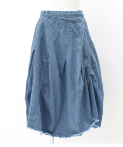 デニムカットオフバルーンスカート