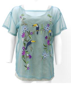 インナー付レイヤード刺繍Tシャツ