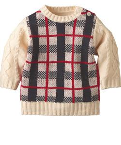 チェックセーター(袖ケーブル)