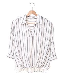 裾タックトロミスキッパー7分袖 シャツ