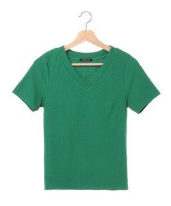 Vネック細リブTシャツ