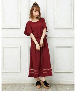裾シアーマキシ ワンピース