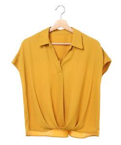 裾タックトロミ スキッパーシャツ