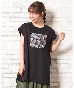 フレンチスリーブ 転写プリント チュニックTシャツ