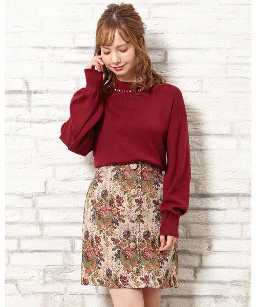 前ボタン花柄ゴブラン台形 スカート