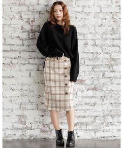 ベルト付シャギーチェックナロー スカート
