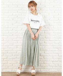 サテン プリーツスカート