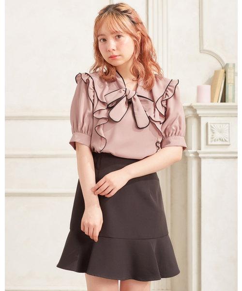 裾切替フレア スカート