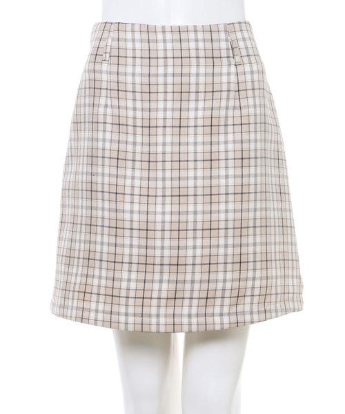 チェック柄台形 スカート