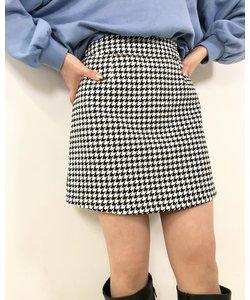 千鳥格子柄台形 スカート