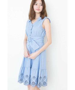 カットワークシャツドレス