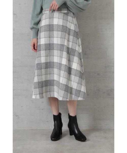 ウール混ブロックチェックフレアスカート