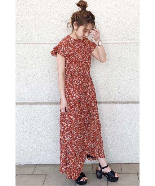 ◆ハイネック花柄マキシワンピース
