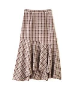 イレギュラーヘムチェック柄スカート