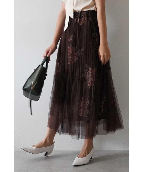 消しプリーツチュール重ね花柄スカート