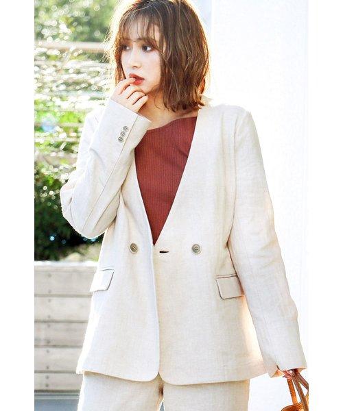 ◆《Sシリーズ対応商品》麻ブレンドノーカラージャケット