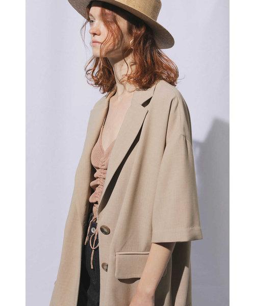 ◆《Sシリーズ対応商品》五分袖ビッグシルエットジャケット