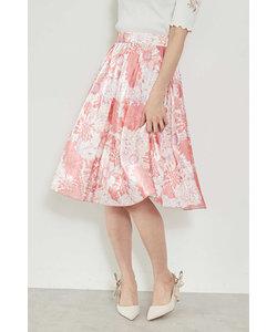 ◆ビッグフラワーエアメタルプリントスカート