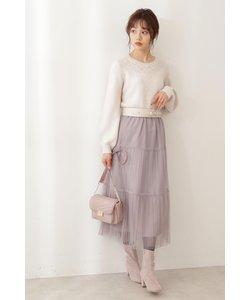 《美人百花12月号掲載商品》《EDIT COLOGNE》チュールティアードプリーツスカート