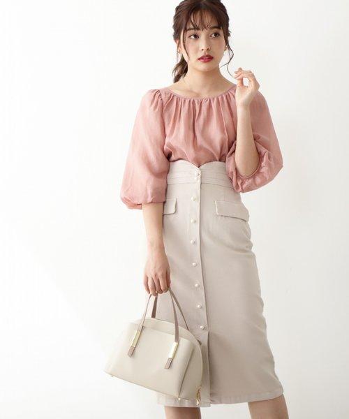 パール釦ストレッチツイルタイトスカート