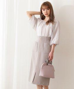 フロントファスナータイトスカート:WEB限定カラー:ラベンダー