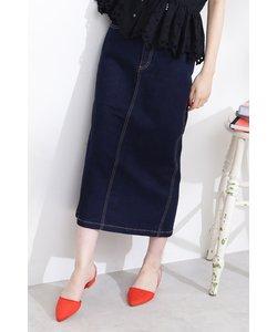 ◆ベーシックデニムミモレタイトスカート