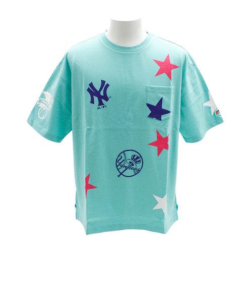 Tシャツ メンズ 半袖 スタープリントビッグ MM01-NY-9S36-BU 【野球 スポーツ ウェア 一般】
