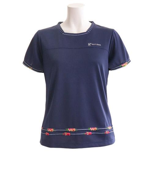 ウィッテム(HUITIEME)Tシャツ レディース 半袖 フラワー HU19F03LS733159NVY 【吸汗速乾/UVカット】