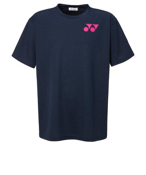 ヨネックス(YONEX)テニスウェア Tシャツ メンズ RWX20001-675 半袖 吸汗速乾 ワンポイントロゴ ネイビー×ピンク