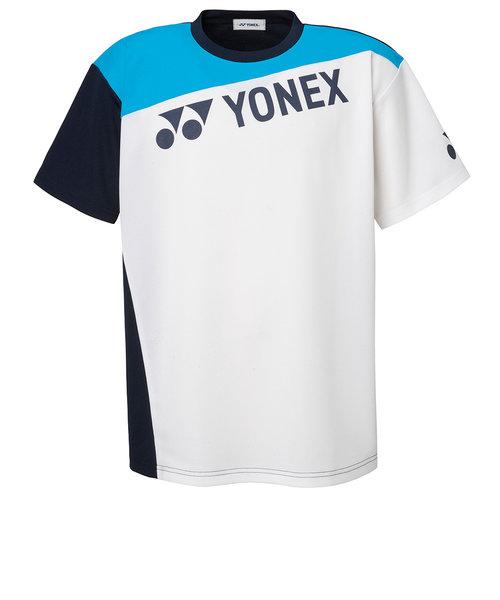 ヨネックス(YONEX)テニスウェア Tシャツ メンズ RWX20002-207 半袖 吸汗速乾 ロゴ ホワイト×ブルー