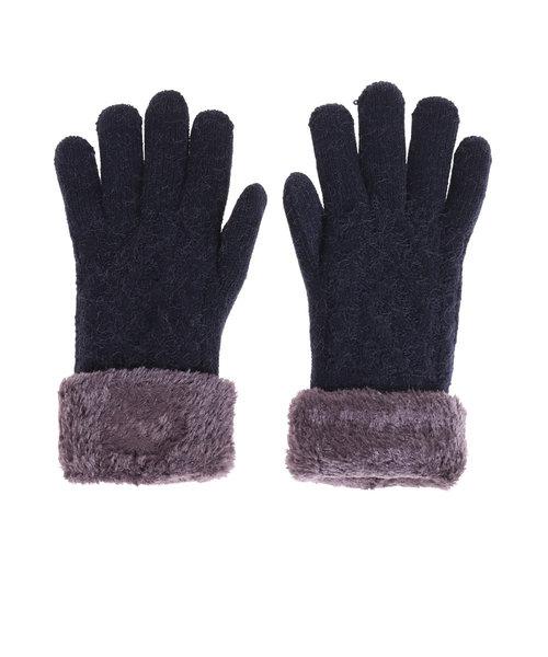 ノーブランド(NO BRAND)2重5指ケーブルニット手袋 515036 ネイビー