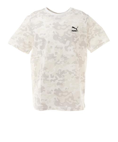 プーマ(PUMA)CLASSICS AOP Tシャツ 599823 02 WHT 半袖