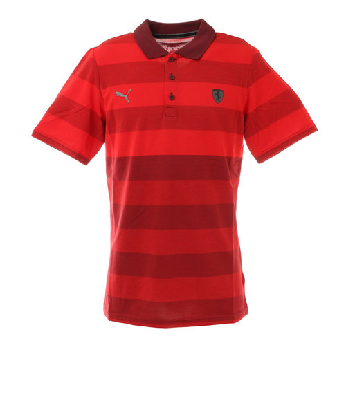 プーマ(PUMA)フェラーリ スタイルストライプ ポロシャツ 599879 02 RED