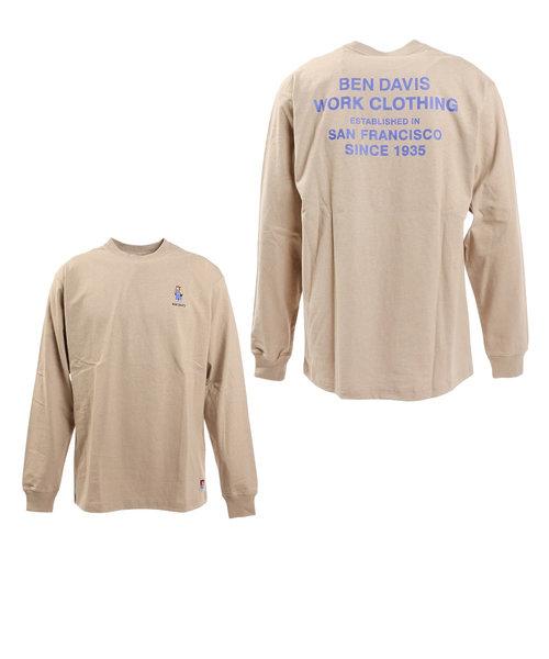 ベンデイビス(BEN DAVIS)ミニゴリラ刺繍長袖Tシャツ 1380018-BEG